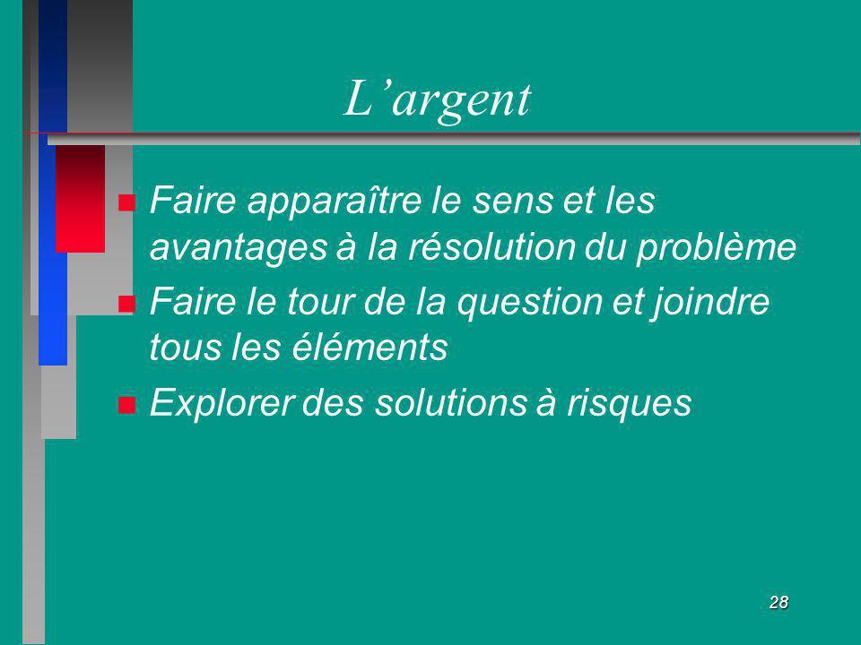 28 Largent Faire apparaître le sens et les avantages à la résolution du problème Faire le tour de la question et joindre tous les éléments Explorer de