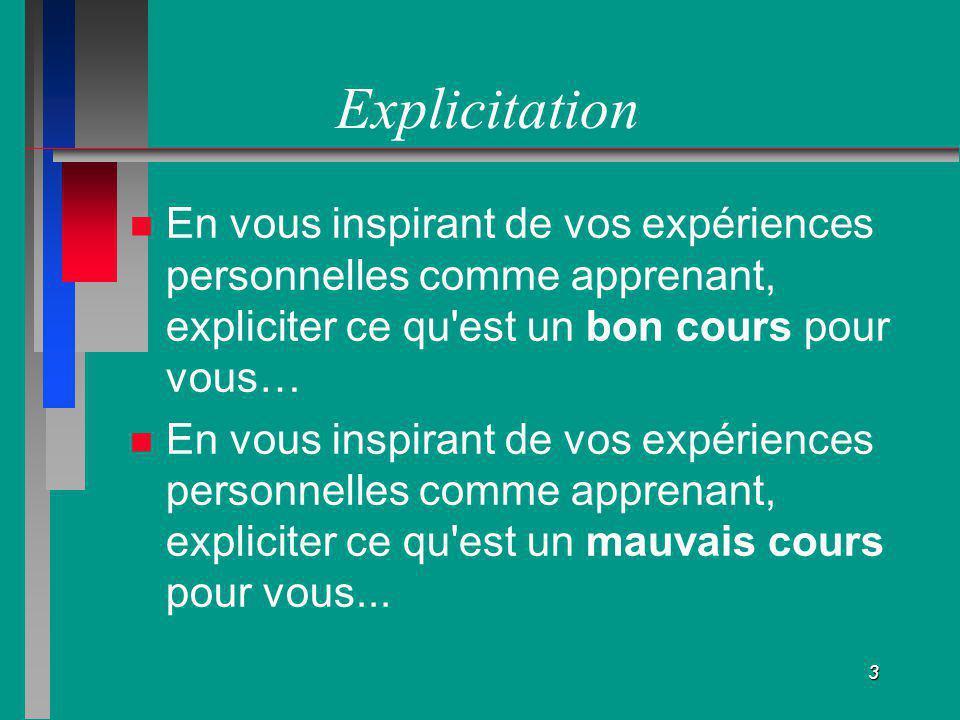 3 Explicitation En vous inspirant de vos expériences personnelles comme apprenant, expliciter ce qu'est un bon cours pour vous… En vous inspirant de v