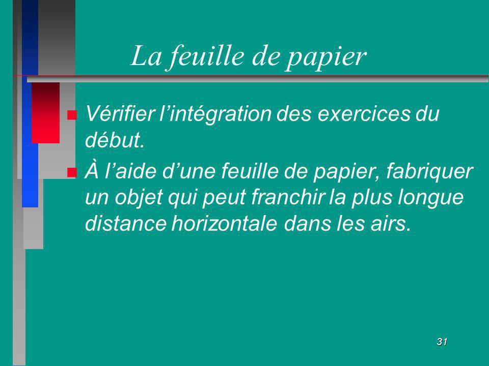 31 La feuille de papier Vérifier lintégration des exercices du début. À laide dune feuille de papier, fabriquer un objet qui peut franchir la plus lon