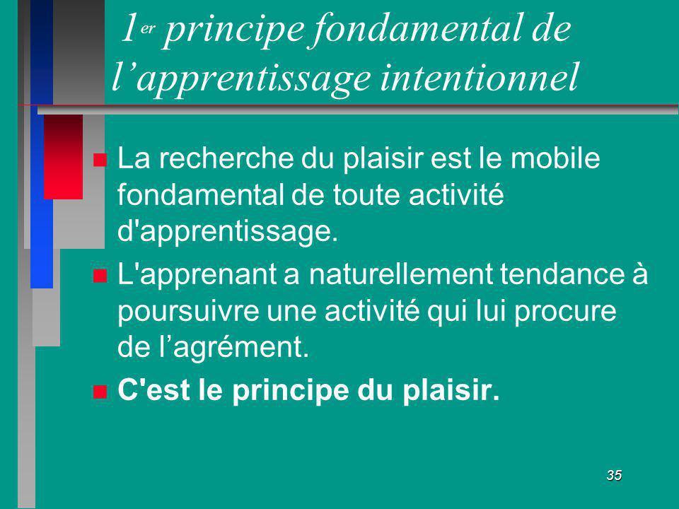 35 1 er principe fondamental de lapprentissage intentionnel La recherche du plaisir est le mobile fondamental de toute activité d'apprentissage. L'app