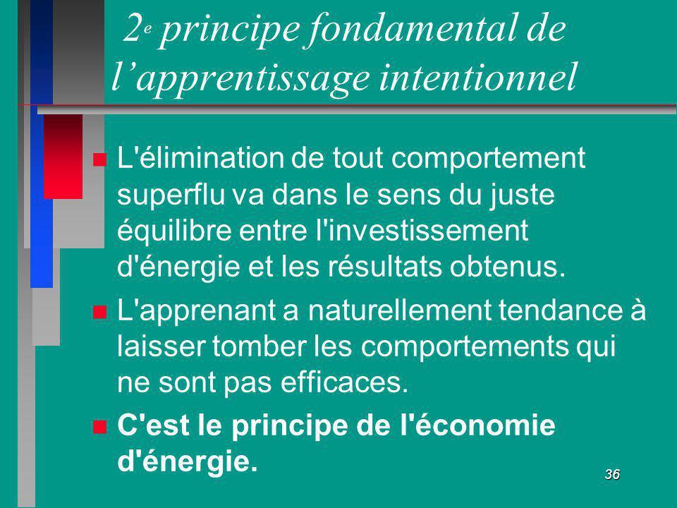 36 2 e principe fondamental de lapprentissage intentionnel L'élimination de tout comportement superflu va dans le sens du juste équilibre entre l'inve