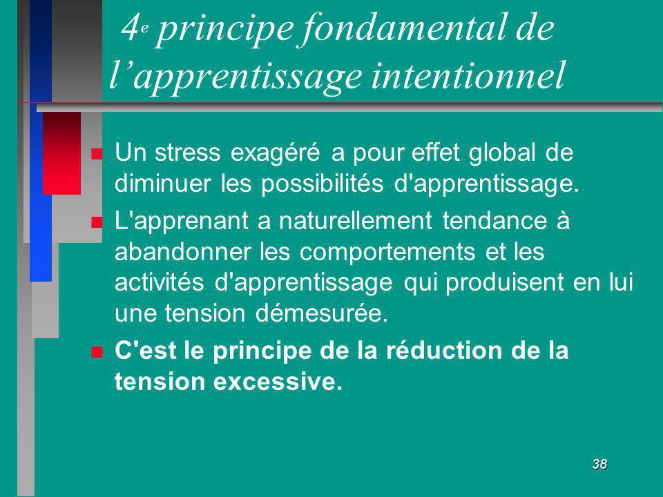 38 4 e principe fondamental de lapprentissage intentionnel Un stress exagéré a pour effet global de diminuer les possibilités d'apprentissage. L'appre