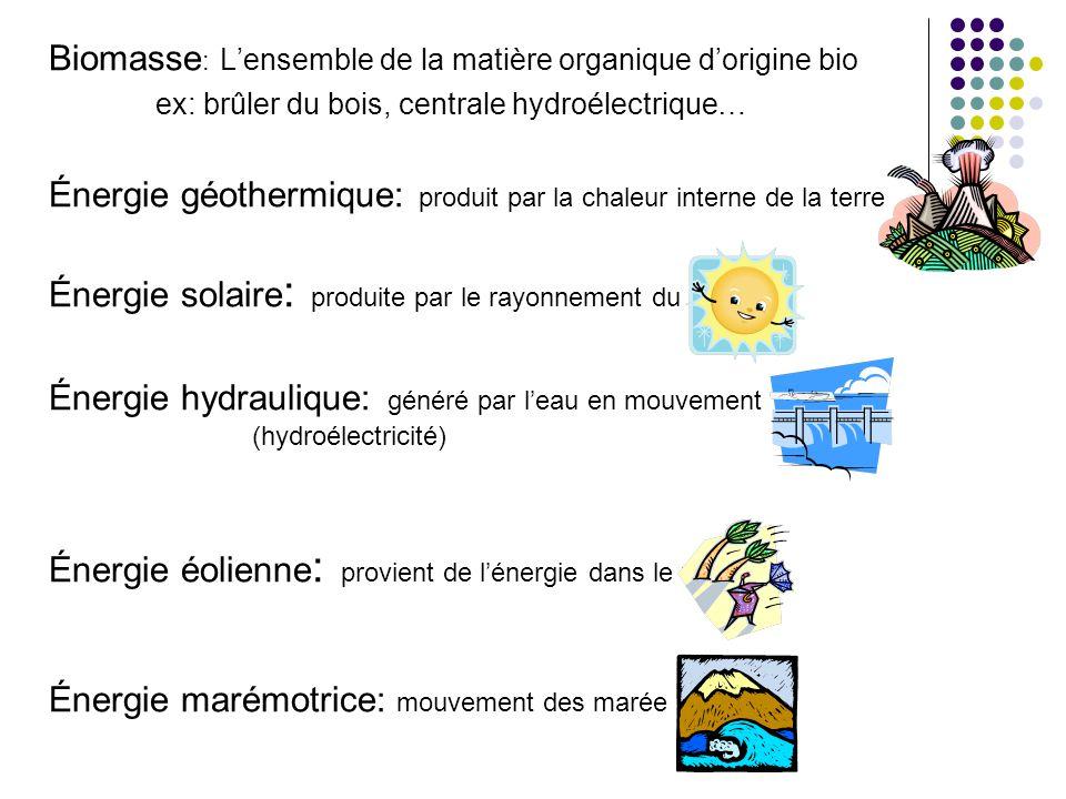 Biomasse : Lensemble de la matière organique dorigine bio ex: brûler du bois, centrale hydroélectrique… Énergie géothermique: produit par la chaleur i