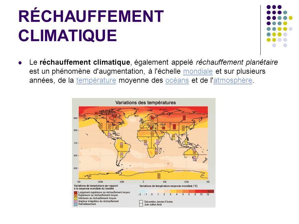 RÉCHAUFFEMENT CLIMATIQUE Le réchauffement climatique, également appelé réchauffement planétaire est un phénomène d'augmentation, à l'échelle mondiale