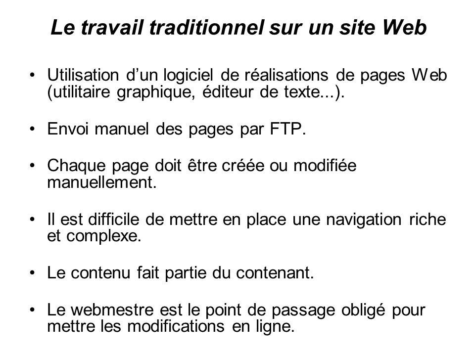 Le travail traditionnel sur un site Web Utilisation dun logiciel de réalisations de pages Web (utilitaire graphique, éditeur de texte...). Envoi manue