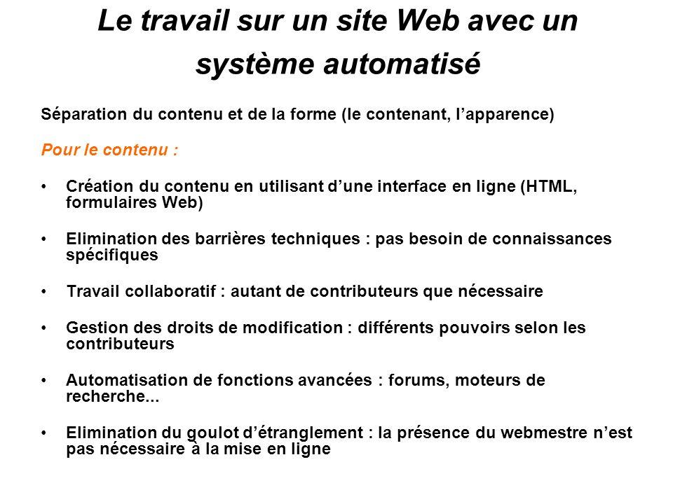 Le travail sur un site Web avec un système automatisé Séparation du contenu et de la forme (le contenant, lapparence) Pour le contenu : Création du co