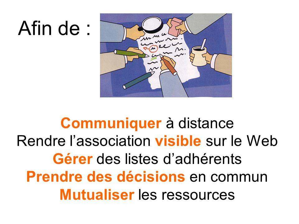 Afin de : Communiquer à distance Rendre lassociation visible sur le Web Gérer des listes dadhérents Prendre des décisions en commun Mutualiser les ressources