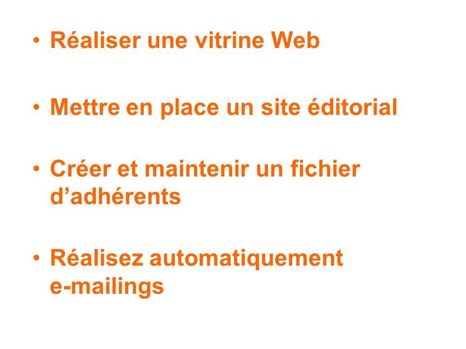 Réaliser une vitrine Web Mettre en place un site éditorial Créer et maintenir un fichier dadhérents Réalisez automatiquement e-mailings