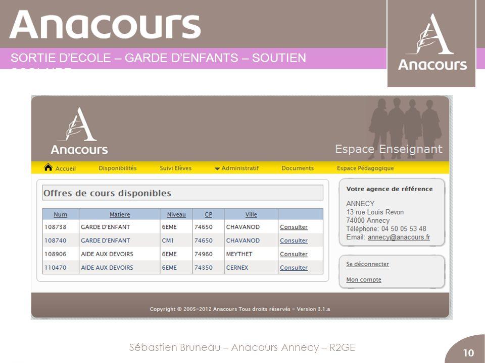 OBTENIR DES COURS 10 Sébastien Bruneau – Anacours Annecy – R2GE SORTIE DECOLE – GARDE DENFANTS – SOUTIEN SCOLAIRE
