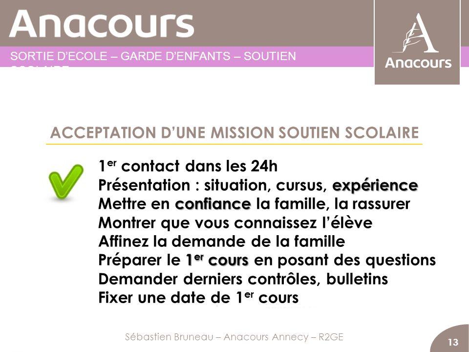 ACCEPTATION DUNE MISSION SOUTIEN SCOLAIRE 13 1 er contact dans les 24h expérience Présentation : situation, cursus, expérience confiance Mettre en con