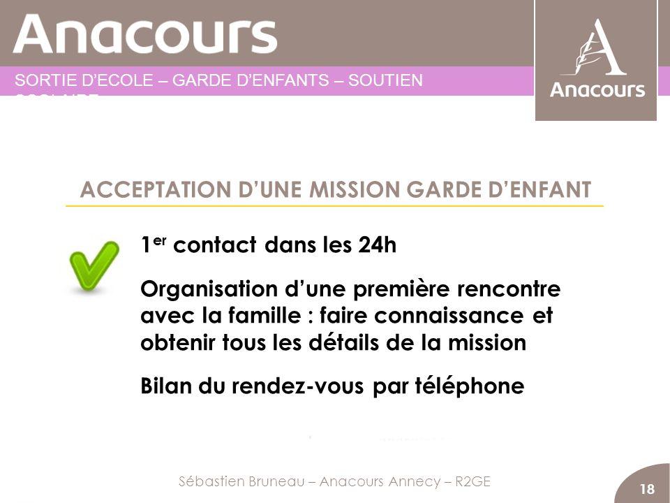 ACCEPTATION DUNE MISSION GARDE DENFANT 18 1 er contact dans les 24h Organisation dune première rencontre avec la famille : faire connaissance et obten