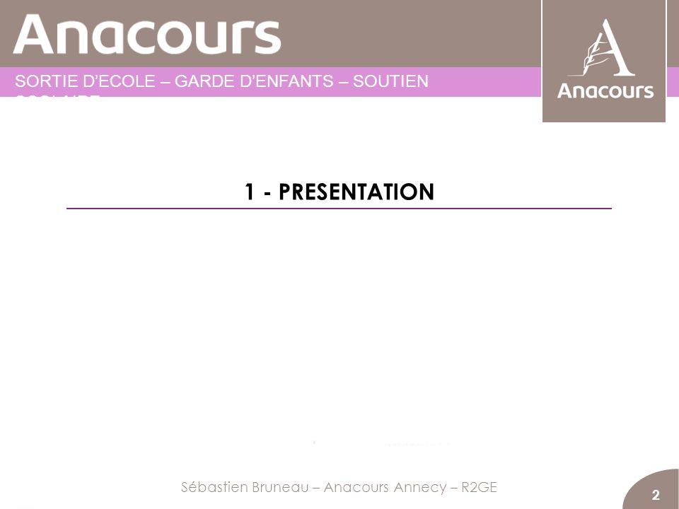 2 Sébastien Bruneau – Anacours Annecy – R2GE 1 - PRESENTATION SORTIE DECOLE – GARDE DENFANTS – SOUTIEN SCOLAIRE