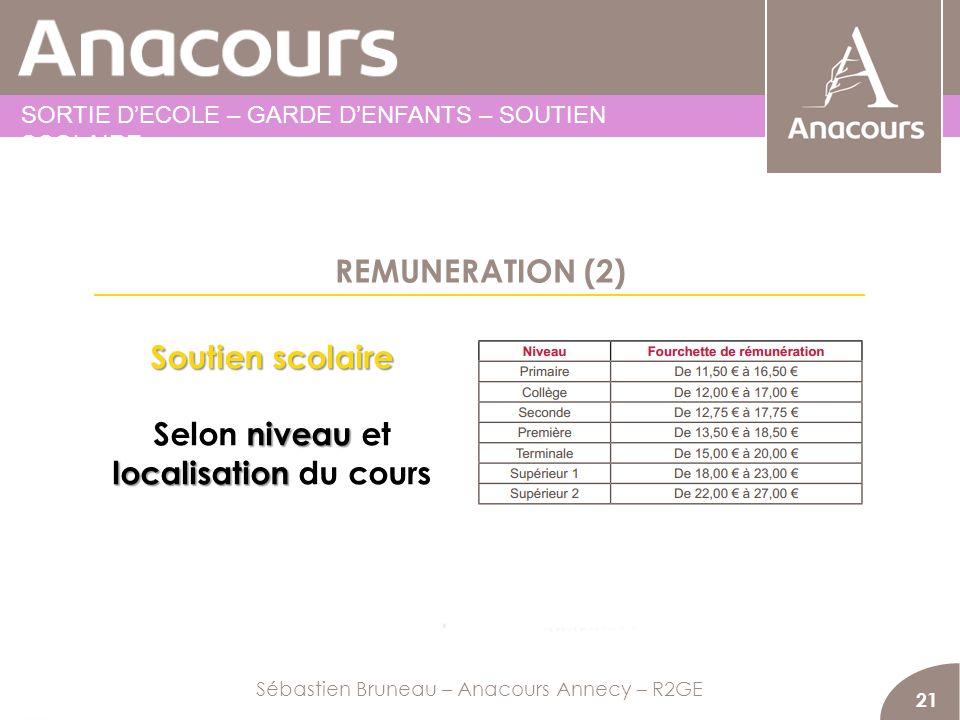 REMUNERATION (2) 21 Soutien scolaire niveau localisation Selon niveau et localisation du cours Sébastien Bruneau – Anacours Annecy – R2GE SORTIE DECOL