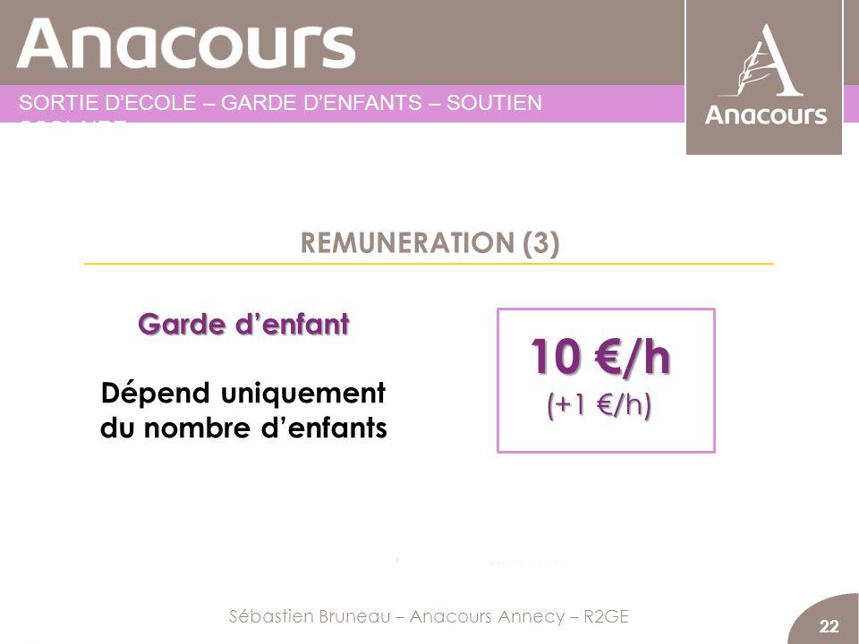 REMUNERATION (3) 22 Garde denfant Dépend uniquement du nombre denfants Sébastien Bruneau – Anacours Annecy – R2GE SORTIE DECOLE – GARDE DENFANTS – SOU