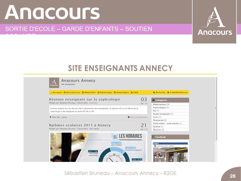SITE ENSEIGNANTS ANNECY 28 Sébastien Bruneau – Anacours Annecy – R2GE SORTIE DECOLE – GARDE DENFANTS – SOUTIEN SCOLAIRE