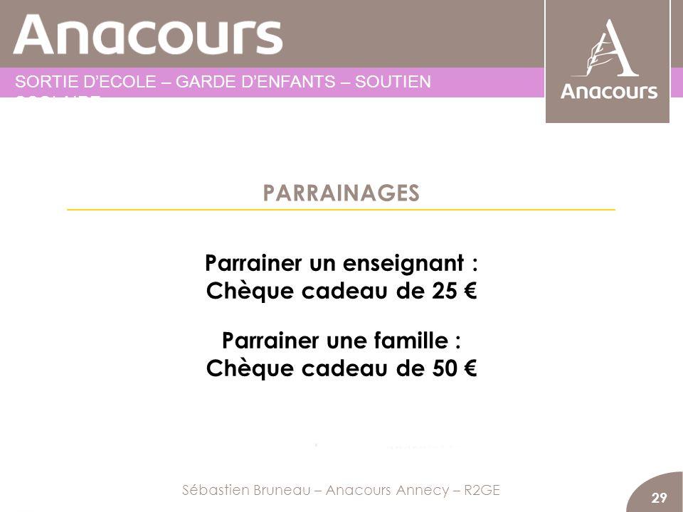PARRAINAGES 29 Parrainer un enseignant : Chèque cadeau de 25 Parrainer une famille : Chèque cadeau de 50 Sébastien Bruneau – Anacours Annecy – R2GE SO