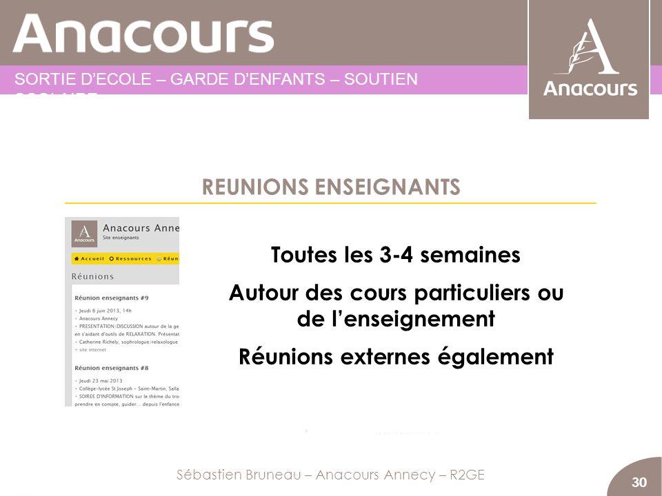 REUNIONS ENSEIGNANTS 30 Toutes les 3-4 semaines Autour des cours particuliers ou de lenseignement Réunions externes également Sébastien Bruneau – Anac