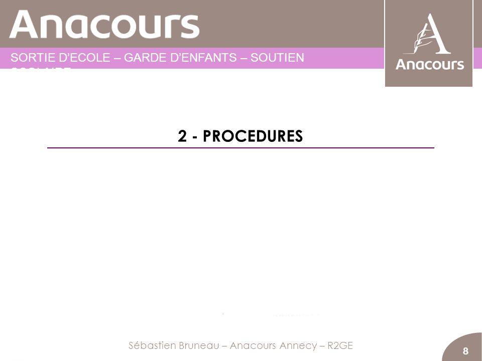 8 2 - PROCEDURES Sébastien Bruneau – Anacours Annecy – R2GE SORTIE DECOLE – GARDE DENFANTS – SOUTIEN SCOLAIRE