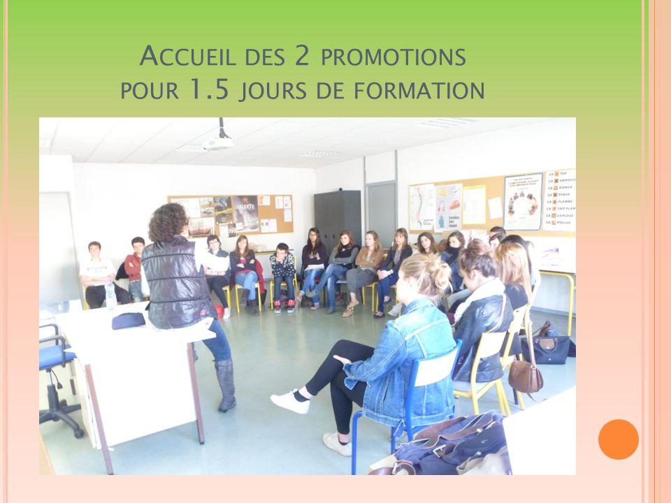 A CCUEIL DES 2 PROMOTIONS POUR 1.5 JOURS DE FORMATION