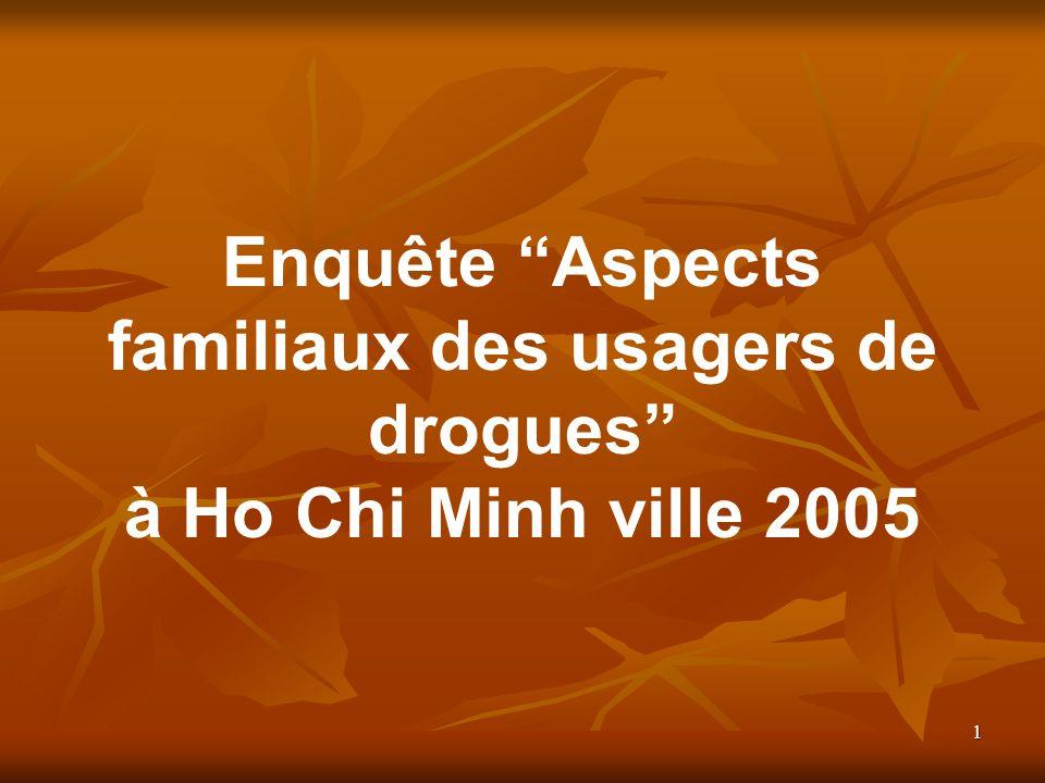 1 Enquête Aspects familiaux des usagers de drogues à Ho Chi Minh ville 2005