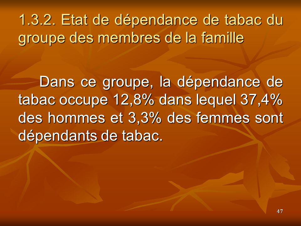 47 1.3.2. Etat de dépendance de tabac du groupe des membres de la famille Dans ce groupe, la dépendance de tabac occupe 12,8% dans lequel 37,4% des ho
