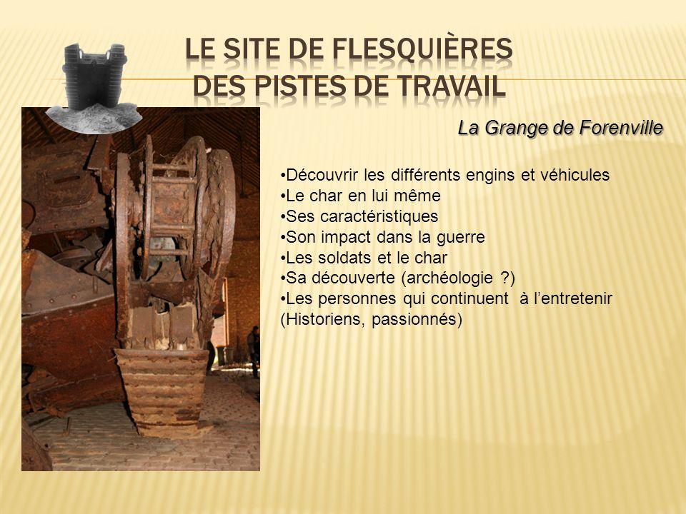 La Grange de Forenville Découvrir les différents engins et véhicules Le char en lui même Ses caractéristiques Son impact dans la guerre Les soldats et