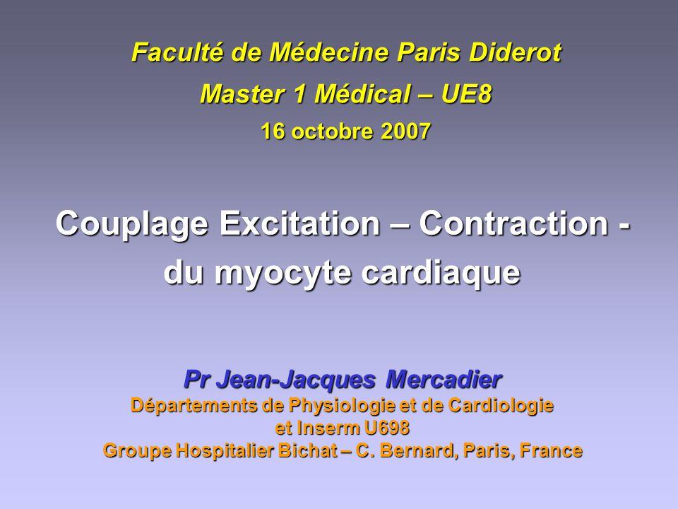 Faculté de Médecine Paris Diderot Master 1 Médical – UE8 16 octobre 2007 Couplage Excitation – Contraction - du myocyte cardiaque Pr Jean-Jacques Merc