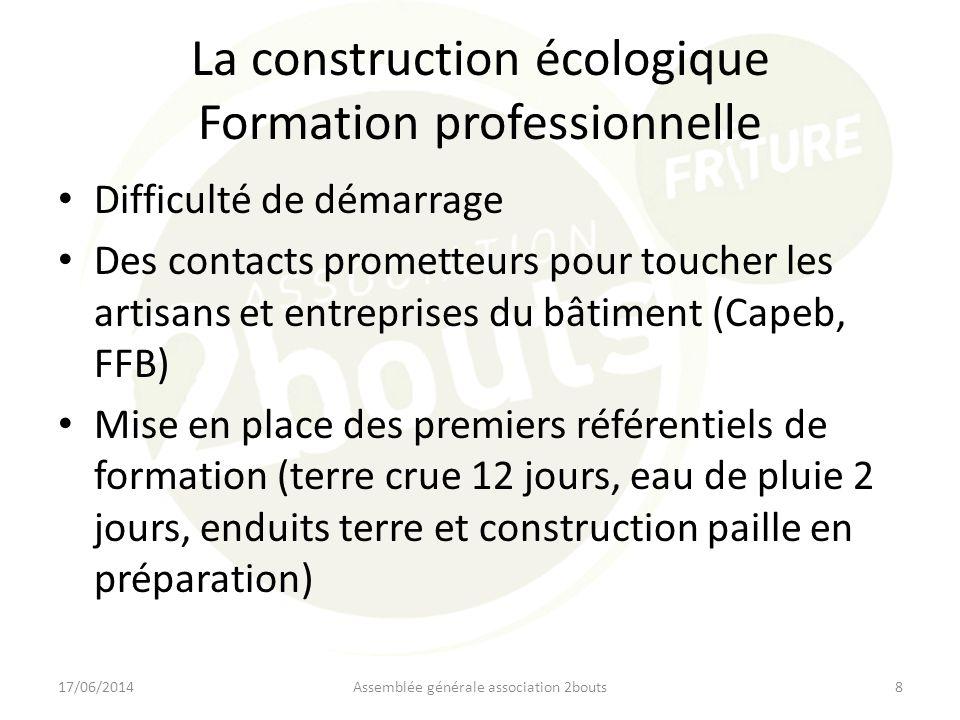 La construction écologique Formation professionnelle Difficulté de démarrage Des contacts prometteurs pour toucher les artisans et entreprises du bâti