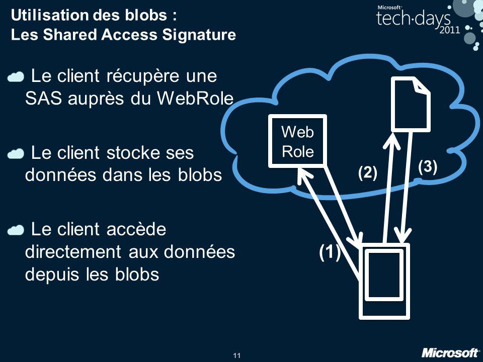 11 Utilisation des blobs : Les Shared Access Signature Le client récupère une SAS auprès du WebRole Le client stocke ses données dans les blobs Le client accède directement aux données depuis les blobs Web Role Web Role (1) (2) (3)