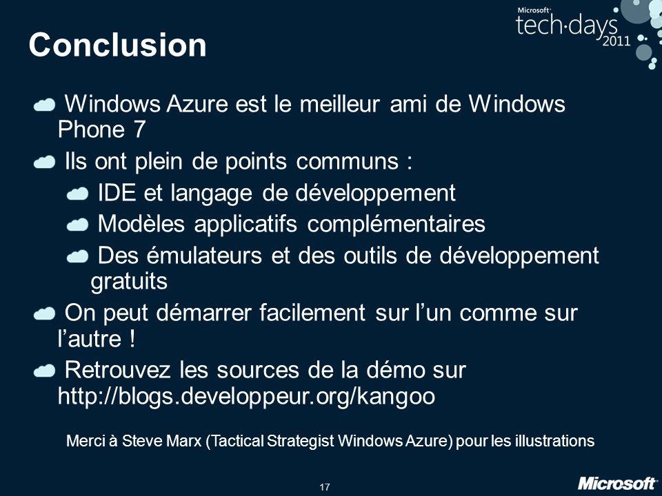 17 Conclusion Windows Azure est le meilleur ami de Windows Phone 7 Ils ont plein de points communs : IDE et langage de développement Modèles applicatifs complémentaires Des émulateurs et des outils de développement gratuits On peut démarrer facilement sur lun comme sur lautre .