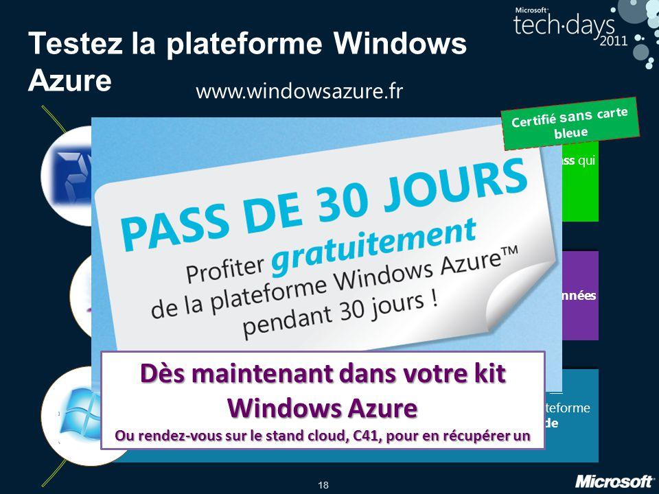 18 Testez la plateforme Windows Azure Explorez linfini en 24h au travers de 3 exercices et repartez avec un Pass qui vous permet daccéder à un vrai compte Windows Azure gratuitement pendant 30 jours.