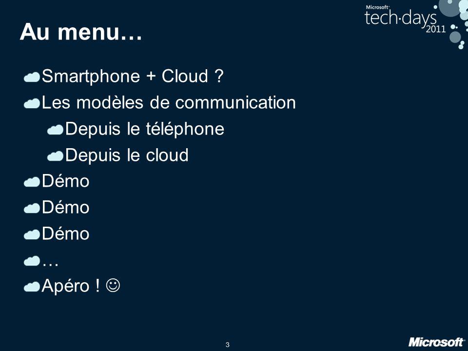 3 Au menu… Smartphone + Cloud .