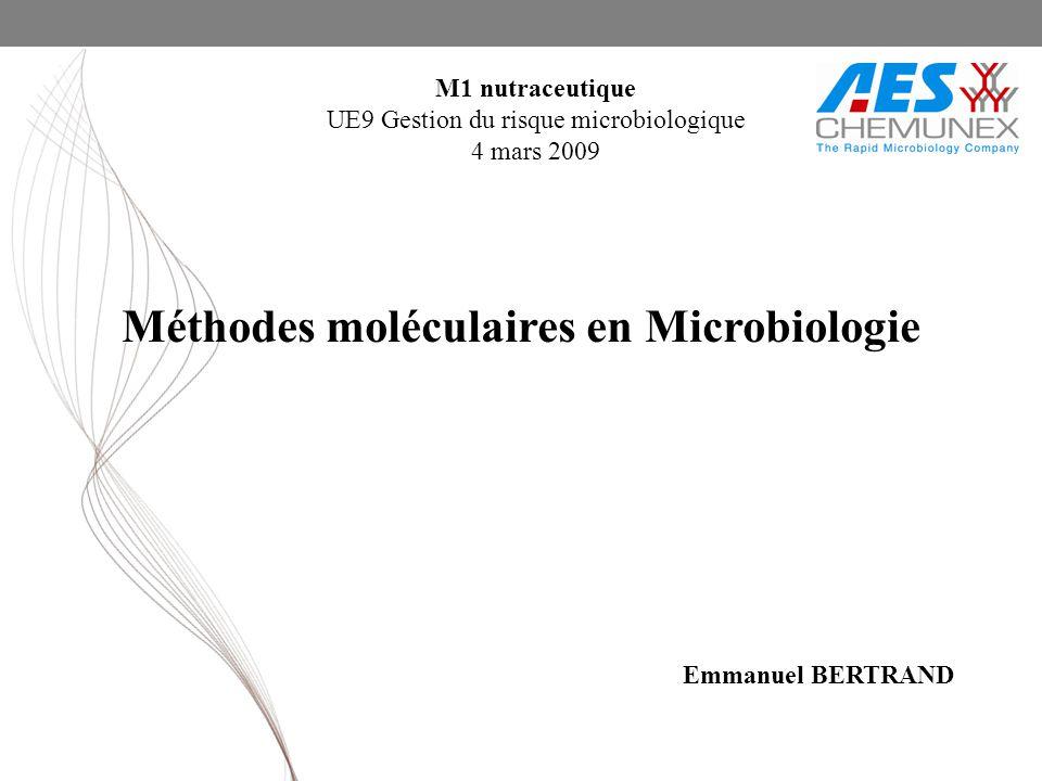 Méthodes moléculaires en Microbiologie M1 nutraceutique UE9 Gestion du risque microbiologique 4 mars 2009 Emmanuel BERTRAND