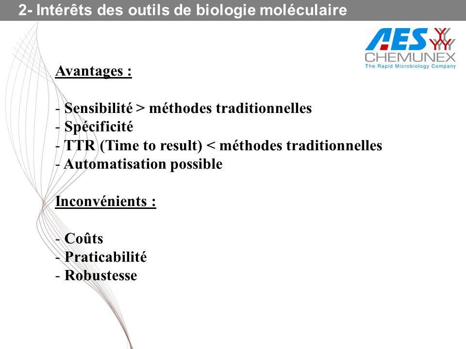2- Intérêts des outils de biologie moléculaire Avantages : - Sensibilité > méthodes traditionnelles - Spécificité - TTR (Time to result) < méthodes tr
