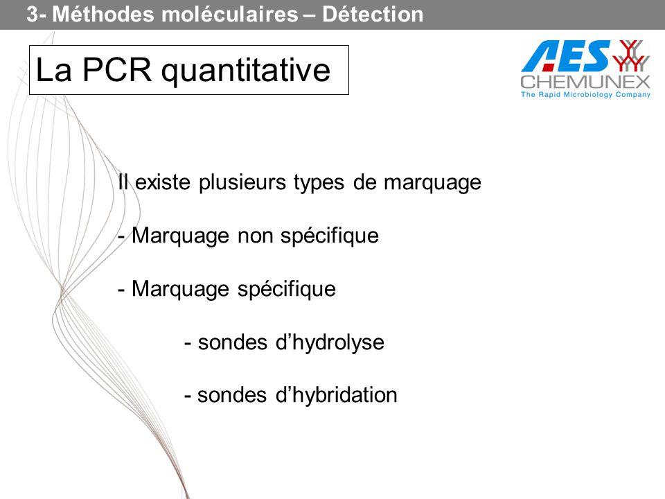 La PCR quantitative Il existe plusieurs types de marquage - Marquage non spécifique - Marquage spécifique - sondes dhydrolyse - sondes dhybridation 3-
