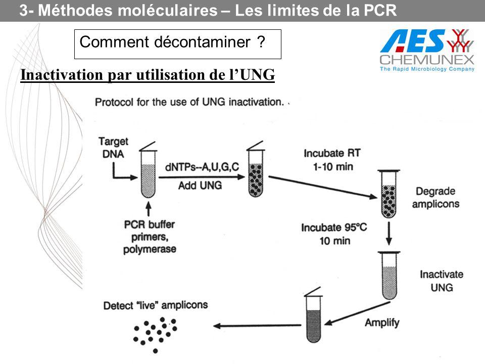 3- Méthodes moléculaires – Les limites de la PCR Comment décontaminer ? Inactivation par utilisation de lUNG