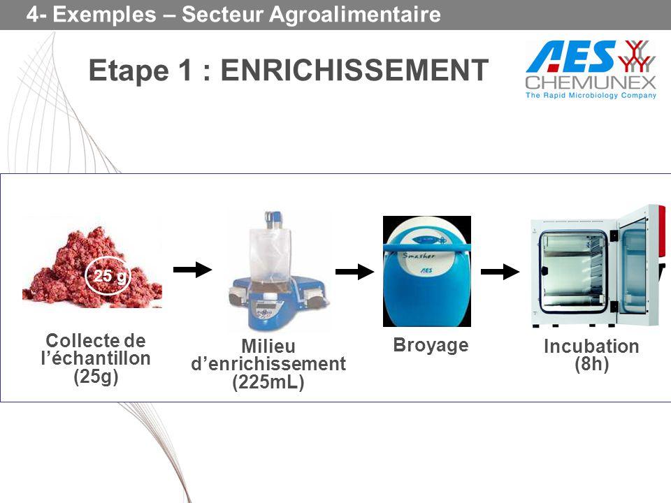 4- Exemples – Secteur Agroalimentaire Collecte de léchantillon (25g) Broyage Milieu denrichissement (225mL) Incubation (8h) 25 g Etape 1 : ENRICHISSEM
