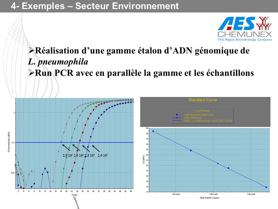 Réalisation dune gamme étalon dADN génomique de L. pneumophila Run PCR avec en parallèle la gamme et les échantillons 2.5 10 5 2.5 10 4 2.5 10 3 2.5 1