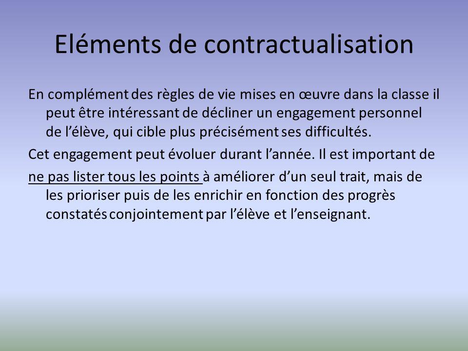 Eléments de contractualisation En complément des règles de vie mises en œuvre dans la classe il peut être intéressant de décliner un engagement person