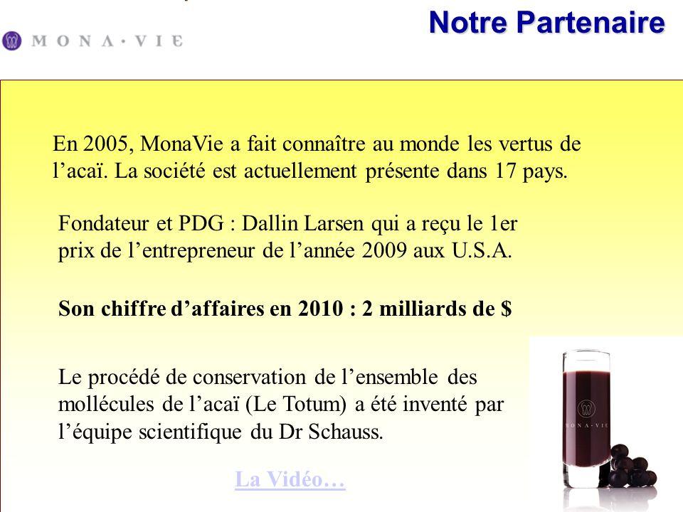 En 2005, MonaVie a fait connaître au monde les vertus de lacaï. La société est actuellement présente dans 17 pays. Fondateur et PDG : Dallin Larsen qu