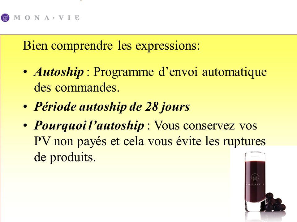 Autoship : Programme denvoi automatique des commandes. Période autoship de 28 jours Pourquoi lautoship : Vous conservez vos PV non payés et cela vous