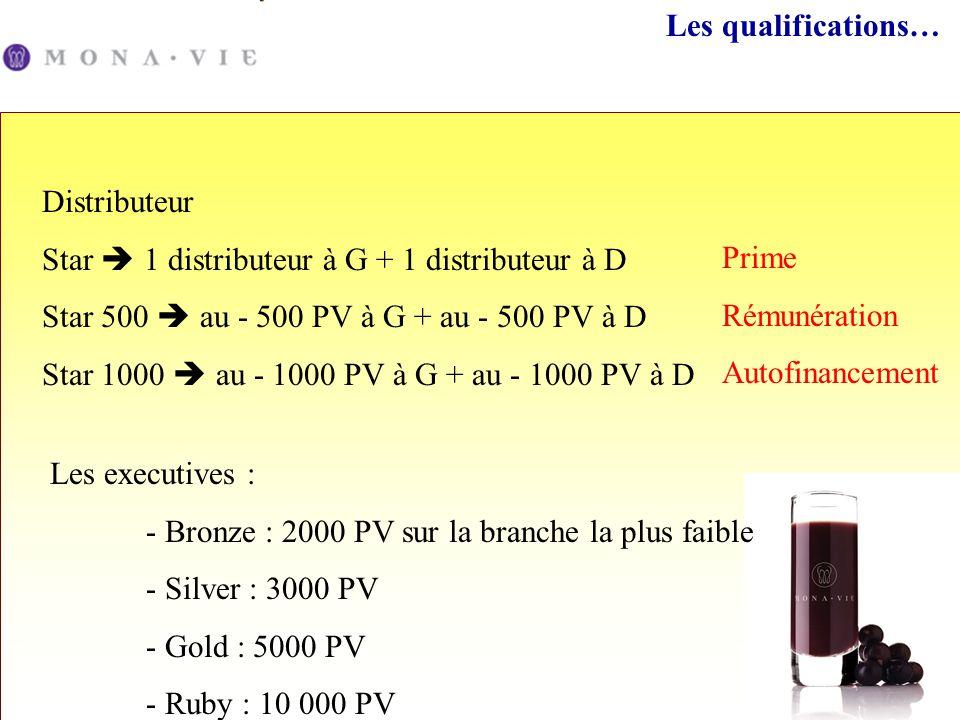 Les qualifications… Distributeur Star 1 distributeur à G + 1 distributeur à D Star 500 au - 500 PV à G + au - 500 PV à D Star 1000 au - 1000 PV à G +