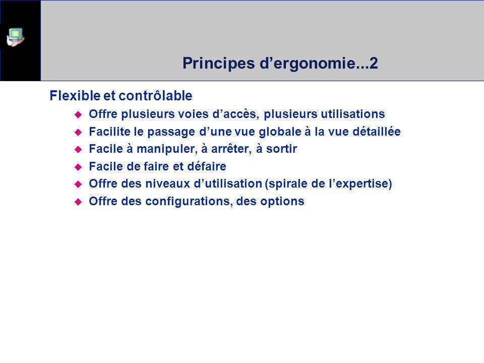 Principes dergonomie...2 Flexible et contrôlable Offre plusieurs voies daccès, plusieurs utilisations Facilite le passage dune vue globale à la vue dé