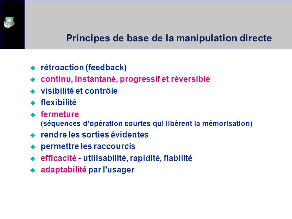 Principes de base de la manipulation directe rétroaction (feedback) continu, instantané, progressif et réversible visibilité et contrôle flexibilité f