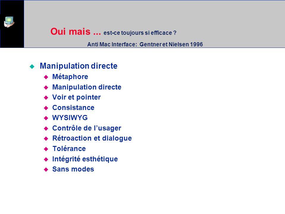 Oui mais... est-ce toujours si efficace ? Anti Mac Interface: Gentner et Nielsen 1996 Manipulation directe Métaphore Manipulation directe Voir et poin