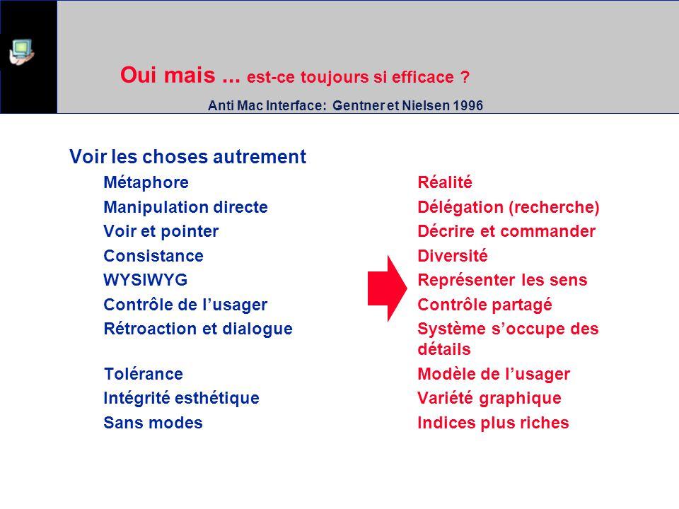 Oui mais... est-ce toujours si efficace ? Anti Mac Interface: Gentner et Nielsen 1996 Voir les choses autrement MétaphoreRéalité Manipulation directeD