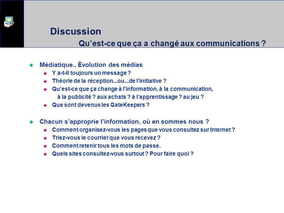 Discussion Quest-ce que ça a changé aux communications ? Médiatique.. Évolution des médias Y a-t-il toujours un message ? Théorie de la réception...ou