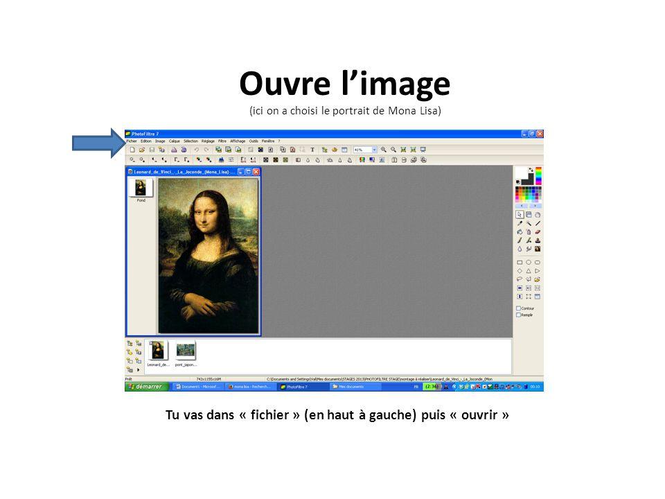 Tu vas dans « fichier » (en haut à gauche) puis « ouvrir » Ouvre limage (ici on a choisi le portrait de Mona Lisa)