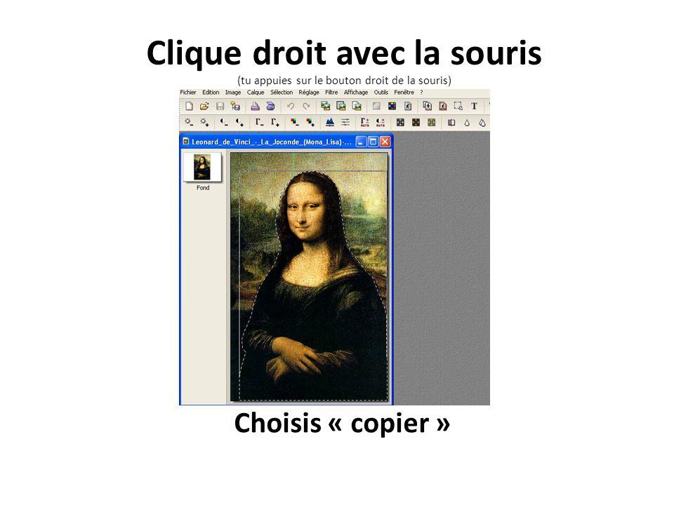 Choisis « copier » Clique droit avec la souris (tu appuies sur le bouton droit de la souris)