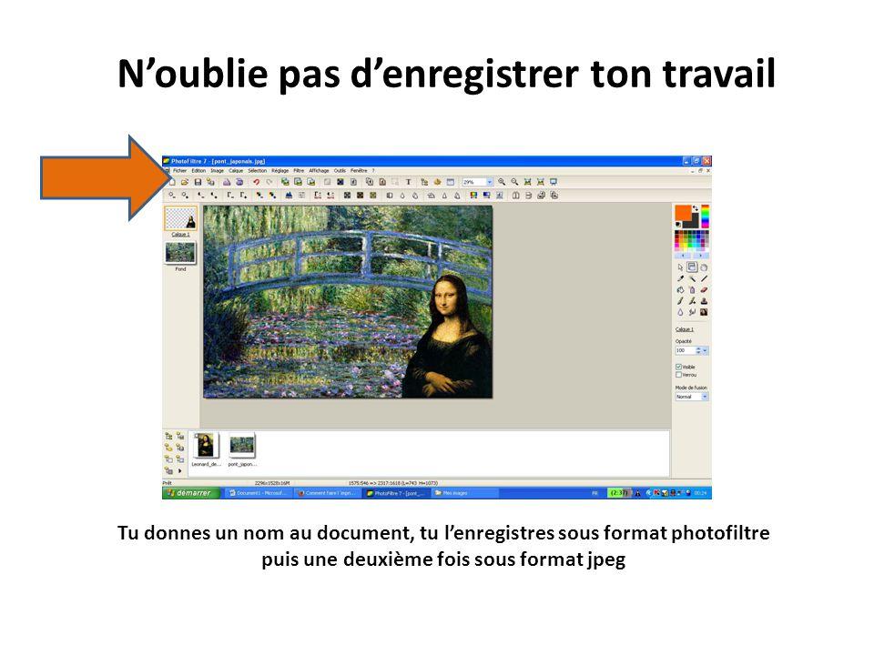Tu donnes un nom au document, tu lenregistres sous format photofiltre puis une deuxième fois sous format jpeg Noublie pas denregistrer ton travail